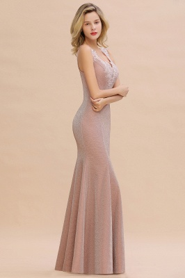 Dusty Pink Shinning Long Prom Dress Mermaid With Appliques_15