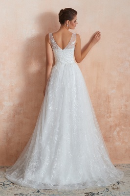 Affordable V-Neck Tulle Lace Long White Wedding Dress_3