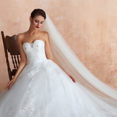 Stylish Strapless White Lace Affordable Wedding Dress with Low Back_8