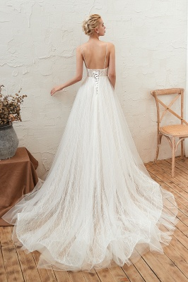 Affordable Tulle V-Neck Long Wedding Dress with Appliques_3