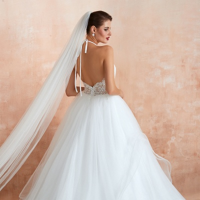 Exquisite Lace Halter Ball Gown White Wedding Dress with Open Back_11