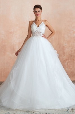 Exquisite Lace Halter Ball Gown White Wedding Dress with Open Back_2