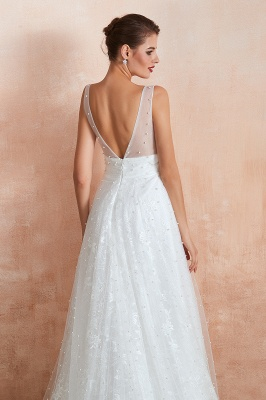 Fantastic V-Neck Sleeveless White Appliques Wedding Dress With Pearls_8