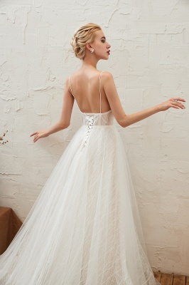 Affordable Tulle V-Neck Long Wedding Dress with Appliques_9