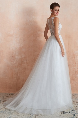 Exquisite Sequins White Tulle Affordable Wedding Dress with Appliques_6
