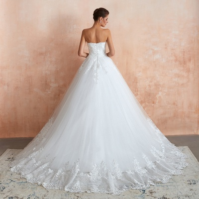 Stylish Strapless White Lace Affordable Wedding Dress with Low Back_5