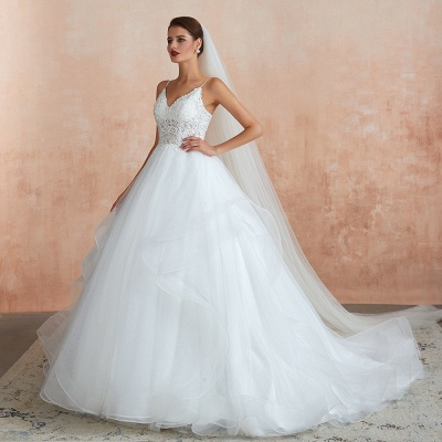 Chic Spaghetti Straps Lace Wedding Dress with See Through Bodice_6