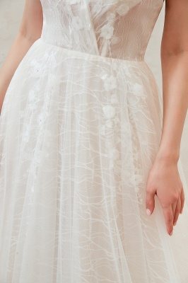 Affordable Tulle V-Neck Long Wedding Dress with Appliques_10