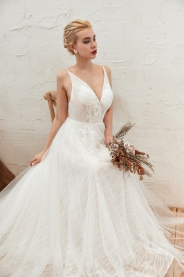 Affordable Tulle V-Neck Long Wedding Dress with Appliques_4