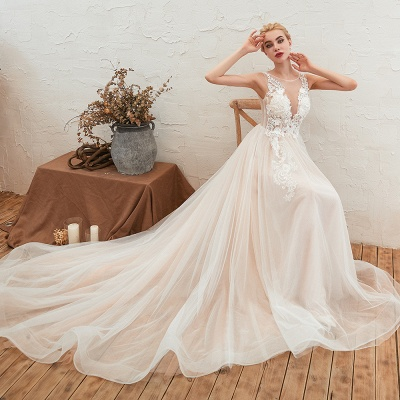 Unique Tulle V-Neck Ivory Affordable Wedding Dress with Appliques_9