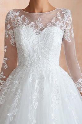 Affordable Lace Jewel White Tulle Wedding Dress with 3/4 Sleeves_12