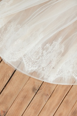 Affordable Tulle V-Neck Ruffle Long Wedding Dress with Appliques_10