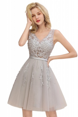 Elegant V-Neck Sleeveless Short Prom Dress | Mini Homecoming Dress With Lace Appliques_8