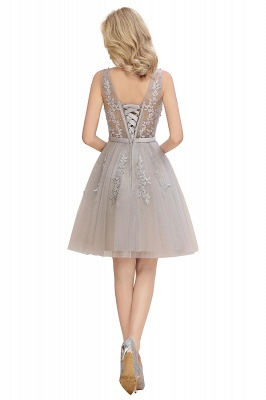 Elegant V-Neck Sleeveless Short Prom Dress | Mini Homecoming Dress With Lace Appliques_16