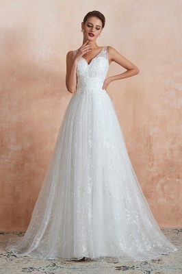 Affordable V-Neck Tulle Lace Long White Wedding Dress_4