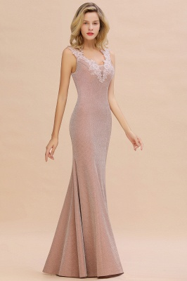 Dusty Pink Shinning Long Prom Dress Mermaid With Appliques_13