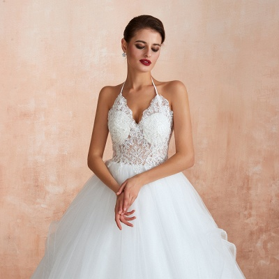 Exquisite Lace Halter Ball Gown White Wedding Dress with Open Back_9
