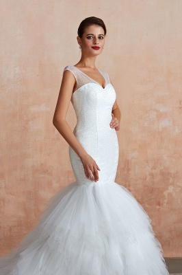 Sparkly Mermaid Sweetheart White Tulle Wedding Dress with Sequins_8