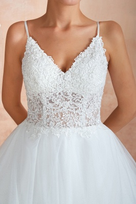 Chic Spaghetti Straps Lace Wedding Dress with See Through Bodice_12