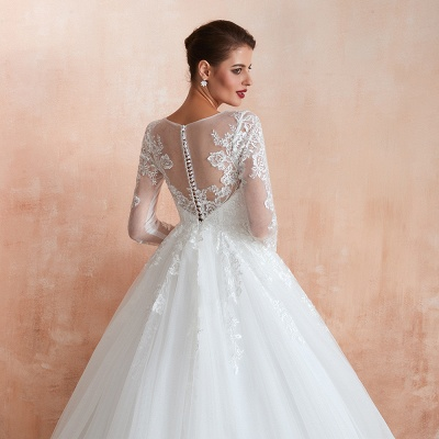 Affordable Lace Jewel White Tulle Wedding Dress with 3/4 Sleeves_11