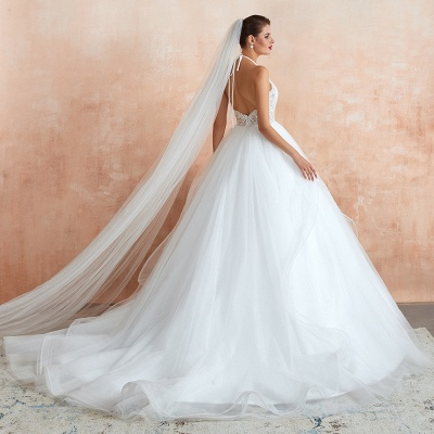 Exquisite Lace Halter Ball Gown White Wedding Dress with Open Back_7
