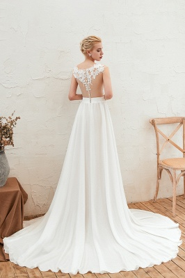 Sexy Jewel Appliques Long Ivory Affordable Wedding Dress with Front Slit_3