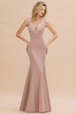 Dusty Pink Shinning Long Prom Dress Mermaid With Appliques_1