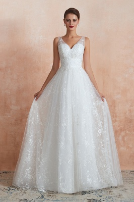 Affordable V-Neck Tulle Lace Long White Wedding Dress_1