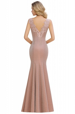 Dusty Pink Shinning Long Prom Dress Mermaid With Appliques_8