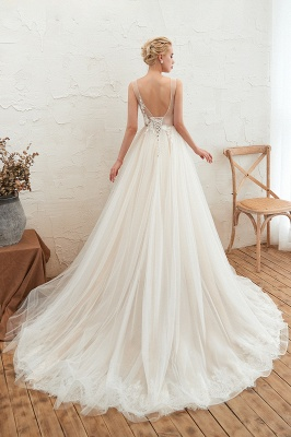 Affordable Tulle V-Neck Ruffle Long Wedding Dress with Appliques_3