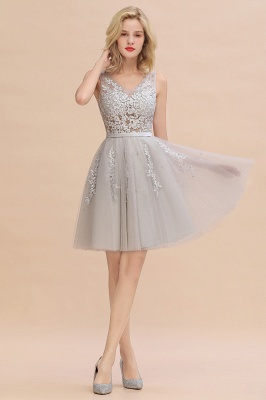 Elegant V-Neck Sleeveless Short Prom Dress | Mini Homecoming Dress With Lace Appliques_5