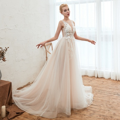 Unique Tulle V-Neck Ivory Affordable Wedding Dress with Appliques_7