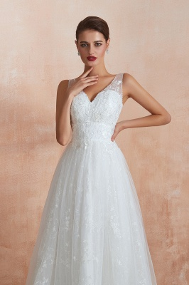Affordable V-Neck Tulle Lace Long White Wedding Dress_9