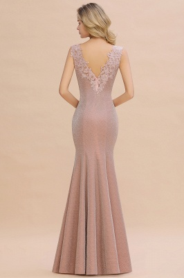 Dusty Pink Shinning Long Prom Dress Mermaid With Appliques_17