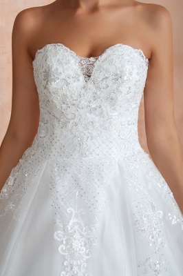 Stylish Strapless White Lace Affordable Wedding Dress with Low Back_4