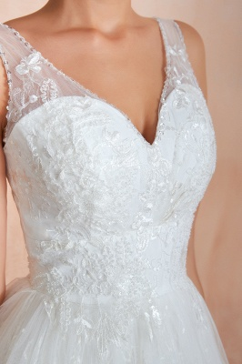 Affordable V-Neck Tulle Lace Long White Wedding Dress_11