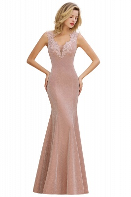 Dusty Pink Shinning Long Prom Dress Mermaid With Appliques_10