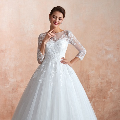 Affordable Lace Jewel White Tulle Wedding Dress with 3/4 Sleeves_10
