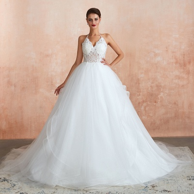 Exquisite Lace Halter Ball Gown White Wedding Dress with Open Back_1