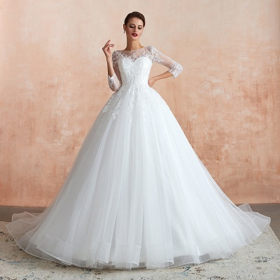 Affordable Lace Jewel White Tulle Wedding Dress with 3/4 Sleeves_6