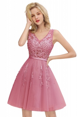 Elegant V-Neck Sleeveless Short Prom Dress | Mini Homecoming Dress With Lace Appliques_2