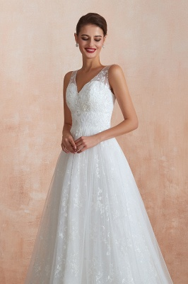 Affordable V-Neck Tulle Lace Long White Wedding Dress_8