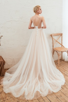 Unique Tulle V-Neck Ivory Affordable Wedding Dress with Appliques_4