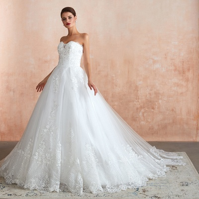Stylish Strapless White Lace Affordable Wedding Dress with Low Back_9