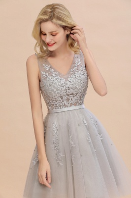 Elegant V-Neck Sleeveless Short Prom Dress | Mini Homecoming Dress With Lace Appliques_14