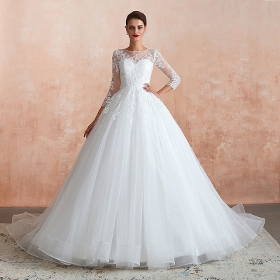 Affordable Lace Jewel White Tulle Wedding Dress with 3/4 Sleeves_3