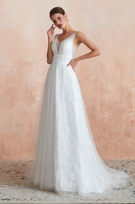Fantastic V-Neck Sleeveless White Appliques Wedding Dress With Pearls_6