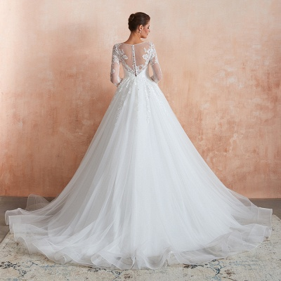 Affordable Lace Jewel White Tulle Wedding Dress with 3/4 Sleeves_9
