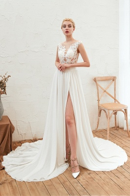 Sexy Jewel Appliques Long Ivory Affordable Wedding Dress with Front Slit_1