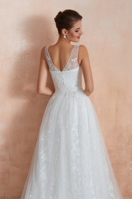 Affordable V-Neck Tulle Lace Long White Wedding Dress_10